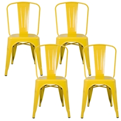 Fine Mod Imports Tolix Marais Dining Chair Set of 4 in Yellow