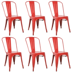 Fine Mod Imports Tolix Marais Dining Chair Set of 6 in Red