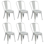 Fine Mod Imports Tolix Marais Dining Chair Set of 6 in Silver
