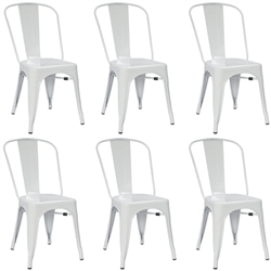 Fine Mod Imports Tolix Marais Dining Chair Set of 6 in White
