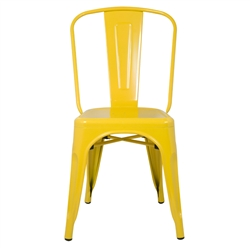 Fine Mod Imports Tolix Marais Galvanized Steel Dining Chair  in Yellow