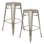 Fine Mod Imports Tolix Counter Stool In Gunmetal, Silver Set of 2