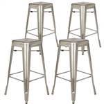 Fine Mod Imports Tolix Bar Stool In Gunmetal, Silver Set of 4