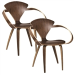 Fine Mod Imports Normen Chair Modern Wooden Arm Chair Set of 2