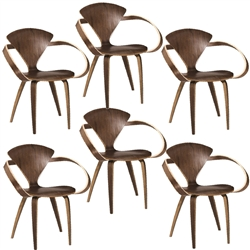 Fine Mod Imports Normen Chair Modern Wooden Arm Chair Set of 6