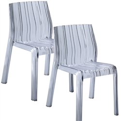 Fine Mod Imports Acrylic Stripe Dining Chair In Clear- Set of 2