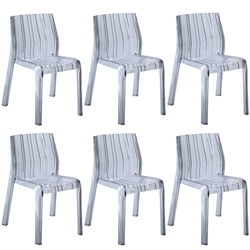 Fine Mod Imports Acrylic Stripe Dining Chair In Clear- Set of 6
