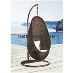 Fine Mod Imports Rattan Hanging Chair with Stand