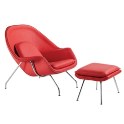 Fine Mod Imports Eero Saarinen Style Womb Chair and Ottoman Set Leather