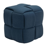 Zuo Modern Checks Stool Navy Blue