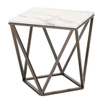 Zuo Modern Tintern End Table Stone & A. Brass