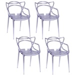 Fine Mod Imports Kartell Masters Dining Chair In Clear- Set of 4