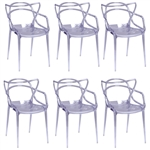 Fine Mod Imports Kartell Masters Dining Chair In Clear- Set of 6