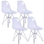 Fine Mod Imports GlossWire Dining Side Chair Set of 4