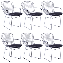 Fine Mod Imports Bertoia Style Wire Arm Chair Set of 6 Chair