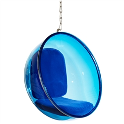 Eero Aarnio Style Bubble Hanging Chair Blue Acrylic and Blue Cushion