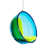 Fine Mod Imports Bubble Hanging Chair Blue Acrylic and Green Cushion