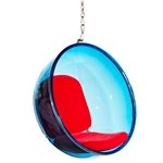 Eero Aarnio Style Bubble Hanging Chair Blue Acrylic and Red Cushion