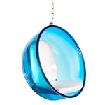 Fine Mod Imports Bubble Hanging Chair Blue Acrylic and Silver Cushion