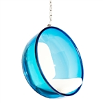 Fine Mod Imports Bubble Hanging Chair Blue Acrylic and White Cushion