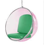 Eero Aarnio Style Bubble Hanging Chair Pink Acrylic and Green Cushion