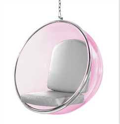 Eero Aarnio Style Bubble Hanging Chair Pink Acrylic and Silver Cushion