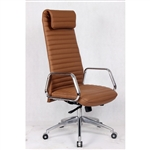Fine Mod Imports Ox High Back Leatherette Office Chair in Light Brown
