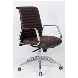 Fine Mod Imports Ox Mid Back Leatherette Office Chair in Dark Brown