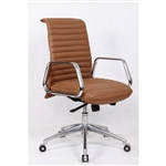 Fine Mod Imports Ox  Mid Back Leatherette Office Chair in Light Brown