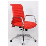 Fine Mod Imports Ox  Mid Back Leatherette Office Chair in Red