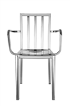 Fine Mod Imports Eve Cafe Polished Steel Dining Arm Chair