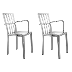 Fine Mod Imports Eve Cafe Polished Steel Dining Arm Chairs Set of 2