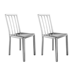 Fine Mod Imports Eve Cafe Polished Steel Dining Chair Set of 2
