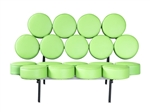 Fine Mod Imports Nelson Style Marshmallow Circle Sofa in Green Leather