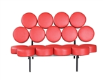Fine Mod Imports Nelson Style Marshmallow Circle Sofa in Red Leather
