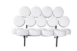 Fine Mod Imports Nelson Style Marshmallow Circle Sofa in White Leather