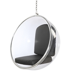 Fine Mod Imports Eero Aarnio Style Bubble Hanging Chair Black Cushion