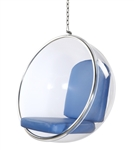 Fine Mod Imports Eero Aarnio Style Bubble Hanging Chair Blue Cushion