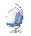 Fine Mod Imports Eero Aarnio Style Bubble Hanging Chair Blue Cushion With Hanging Stand