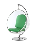 Fine Mod Imports Eero Aarnio Style Bubble Hanging Chair Green Cushion With Hanging Stand