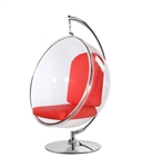 Fine Mod Imports Eero Aarnio Style Bubble Hanging Chair Red Cushion With Hanging Stand