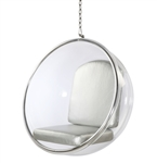 Fine Mod Imports Eero Aarnio Style Bubble Hanging Chair White Cushion Customer Return