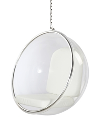 Fine Mod Imports Eero Aarnio Style Bubble Hanging Chair White Cushion
