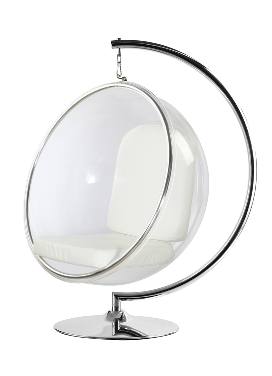 Genial Fine Mod Imports Eero Aarnio Style Bubble Hanging Chair White Cushion ...