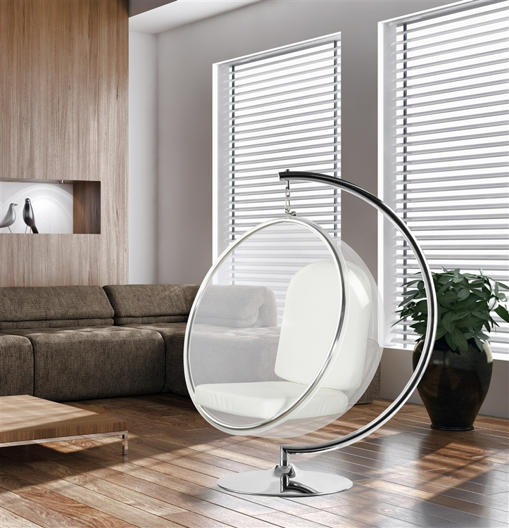 eero aarnio style bubble hanging chair white cushion. Black Bedroom Furniture Sets. Home Design Ideas