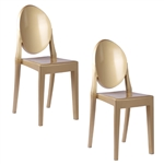 Fine Mod Imports Philippe Starck Style Victoria Ghost Chairs Set Of 2 Gold