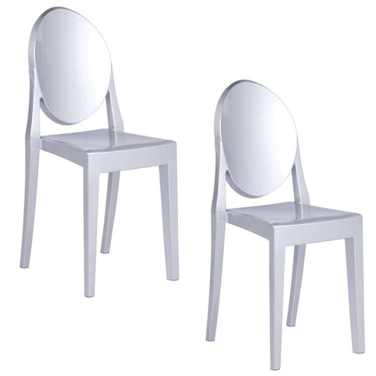philippe starck style victoria ghost chairs set of 2 silver. Black Bedroom Furniture Sets. Home Design Ideas