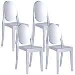 Fine Mod Imports Philippe Starck Style Victoria Ghost Chairs Set Of 4 Silver