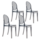 Fine Mod Imports Philippe Starck Style Victoria Ghost Chairs Set Of 4 in Smoke