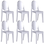Fine Mod Imports Philippe Starck Style Victoria Ghost Chairs Set Of 6 Silver